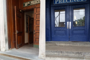 Composite photo of inaccessible NYC police precinct entrances. Right: stairs and front door of Manhattan's 10th precinct. Left: stairs and front door of Brooklyn's 70th precinct.