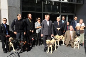 12 people outside of the court building, some with guide dogs, some with white sticks.