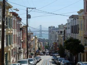 A San Francisco street with cars.