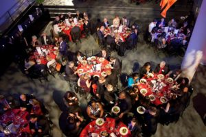 An aerial photo of guests at tables