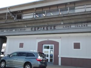 The outside of the Copiague LIRR station.