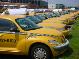 A row of taxis not being used in Pittsburgh, PA