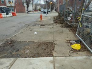 Hazardous sidewalk in Philadelphia