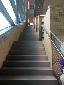 Inaccessible stairway at Hunters Point Library