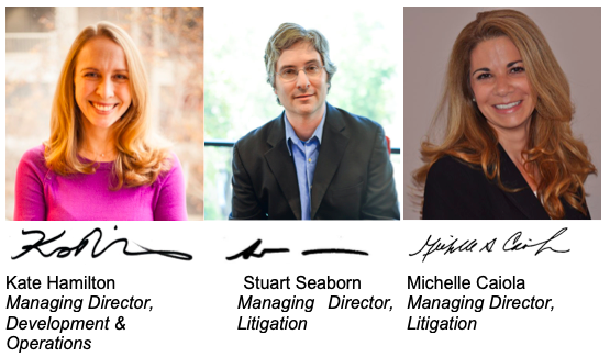 Headshots, signatures & titles of DRA's Managing Directors: Kate Hamilton, Stuart Seaborn, Michelle Caiola