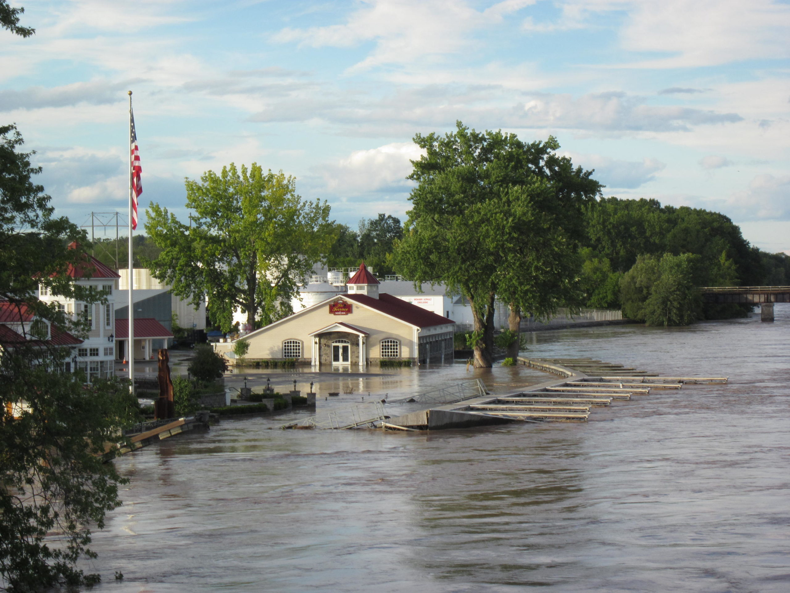 Flooding and submerged buildings in NY after Hurricane Irene 2011