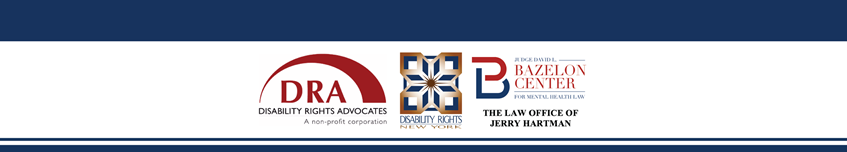 Logos for DRA, DRNY, Bazelon Center, and Law Office of Jerry Hartman