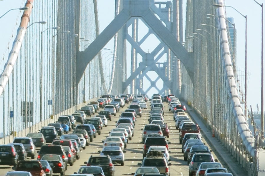Traffic on San Francisco's Bay Bridge.