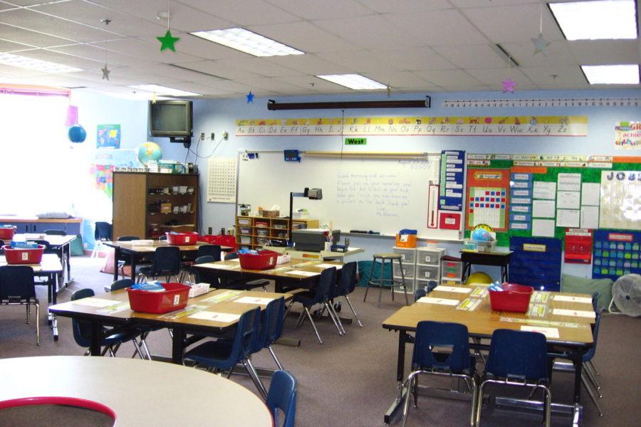 Empty elementary school classroom with desks, chairs, etc.