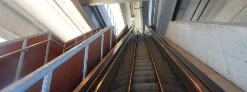 Looking up an escalator at Amityville LIRR Station