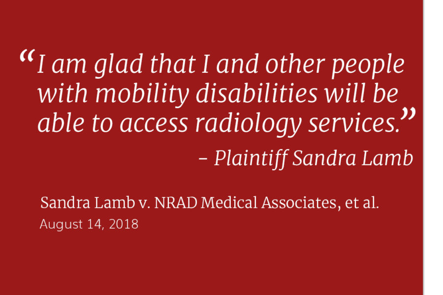 Text reads: Settlement Reached, with the following quote from Sandra Lamb, a plaintiff in Lamb v. NRAD: